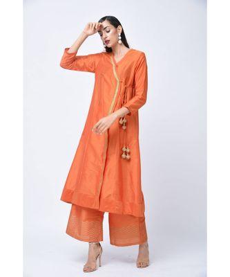 Orange embroidered Art Silk stitched kurta-sets