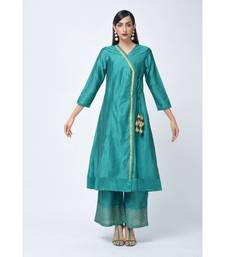 Green embroidered Art Silk stitched kurta-sets