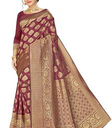 Maroon woven banarasi silk saree with blouse