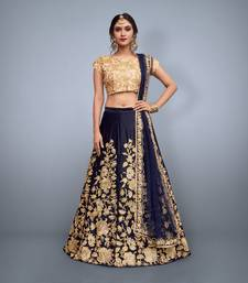 Navy-Blue Embroidered Velvet Unstitched Lehenga