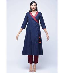 Blue embroidered Cotton stitched kurtis
