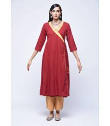 Maroon embroidered Cotton stitched kurtis