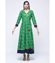 Green embroidered Cotton stitched kurtis
