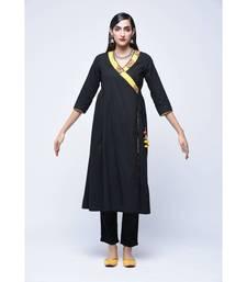 Black embroidered Cotton stitched kurtis