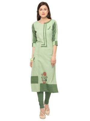 Light Green Khadi Cotton Embroidery Straight Casual Wear Kurti