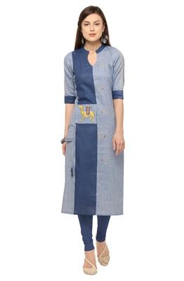 Light Blue Khadi Cotton Embroidery Straight Casual Wear Kurti