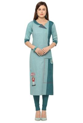 Turquoise Khadi Cotton Embroidery Straight Casual Wear Kurti