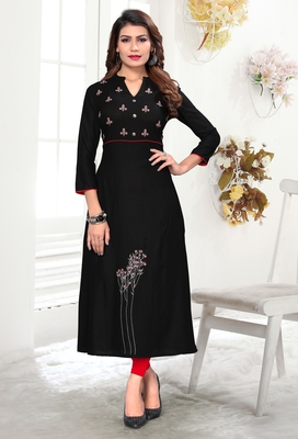 Black embroidered rayon party wear kurtis