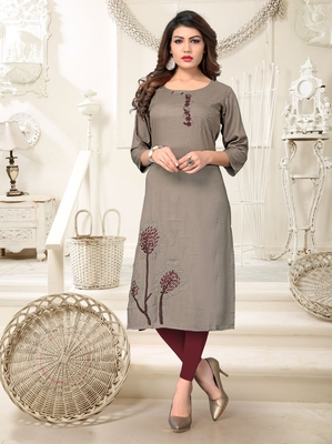 Grey embroidered rayon party wear kurtis