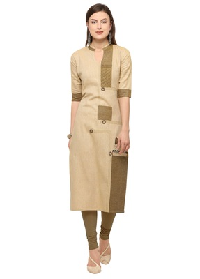 Beige Khadi Cotton Embroidery Straight Casual Wear Kurti
