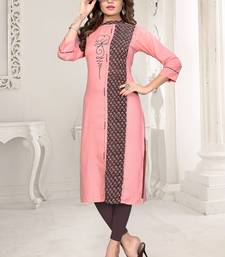 Peach embroidered rayon party wear kurtis