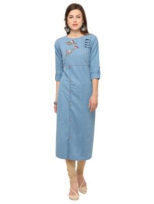 Sky Blue Denim Cotton Printed Straight Casual Wear Kurti
