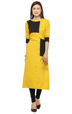 Yellow Cotton slub Embroidery Straight Casual Wear Kurti