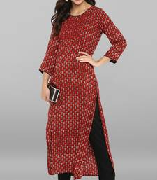 Maroon printed rayon ethnic kurti with narrow pant