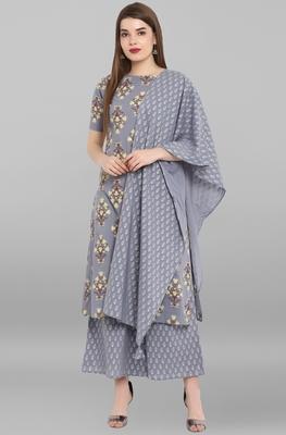 Grey printed cotton ethnic kurti with palazzo and dupatta