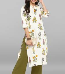 Cream printed cotton ethnic kurti with straight pant