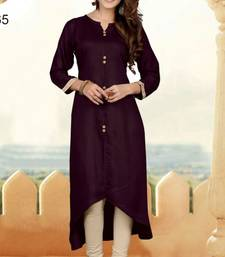 Wine plain cotton long kurtis