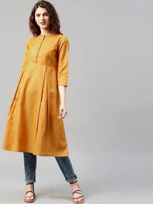 Mustard plain cotton long kurtis