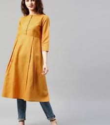 Mustard plain cotton long kurtis