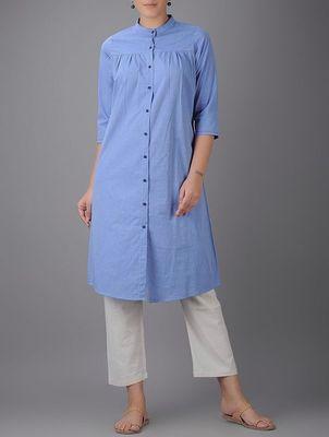 Sky-blue plain cotton long kurtis