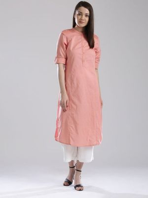 Peach plain cotton long kurti with palazzo