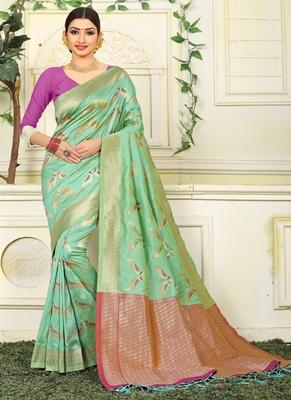 Light green woven jacquard saree with blouse