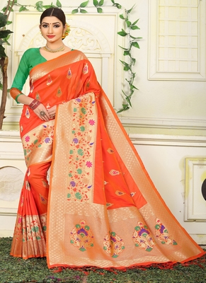 Orange woven jacquard saree with blouse