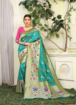 Turquoise woven jacquard saree with blouse