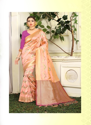 Peach woven jacquard saree with blouse