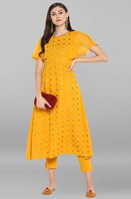 Yellow printed crepe ethnic kurta and narrow pant