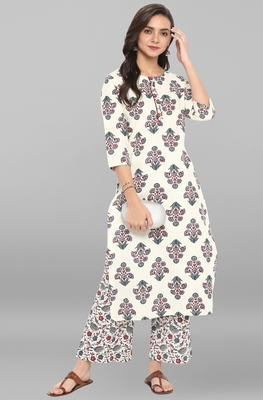 Cream printed cotton ethnic kurta with straight pant
