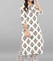 Cream printed cotton ethnic kurta with straight pant