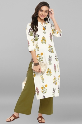 Cream printed cotton ethnic kurta and straight pant