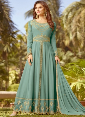 sky-blue Embroidary georgette with semi-stitch anarkali suit