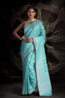 blue BLENDED TISSUE SAREE WITH WOVEN DESIGNS
