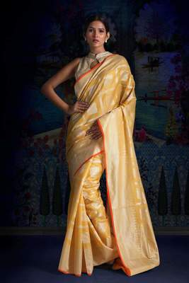 YELLOW BLENDED TISSUE SAREE WITH WOVEN DESIGNS