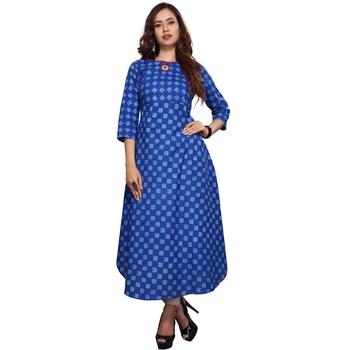 Blue printed cotton ethnic kurtis