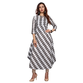 Grey printed cotton ethnic kurtis