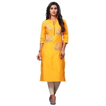 Yellow embroidered jacquard ethnic kurtis