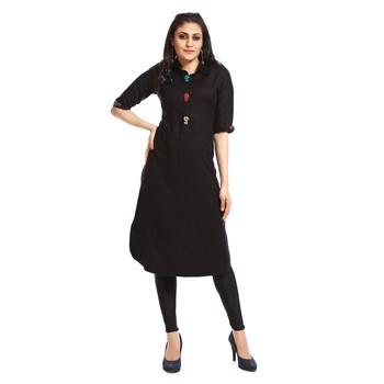 Black plain cotton kurtas and kurtis