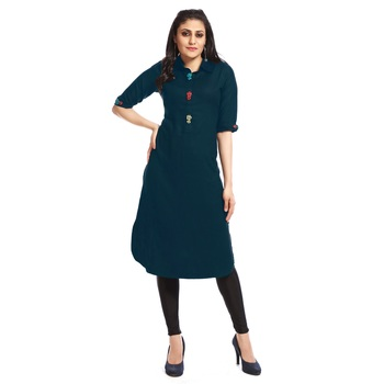 Dark green plain cotton kurtas and kurtis
