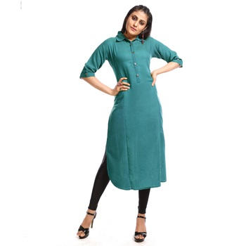 Turquoise plain cotton kurtas and kurtis
