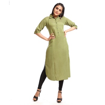 Light green plain cotton kurtas and kurtis