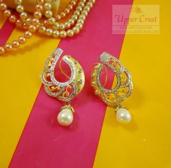 Semi Loop Design Pearl CZ Matt Gold Huge studs Earrings
