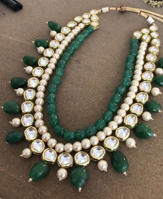 Green Kundan Necklace With Semi Precious Stones And Pearls Glitterati By Alankriti 2957770