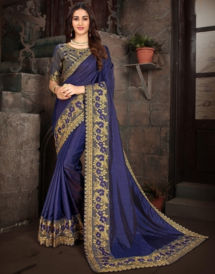 Purple embroidered art silk saree with blouse