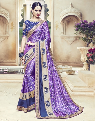 Purple embroidered silk blend saree with blouse