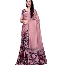 Pink Printed Shimmer Saree With Blouse