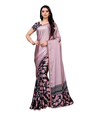 Purple Printed Shimmer Saree With Blouse