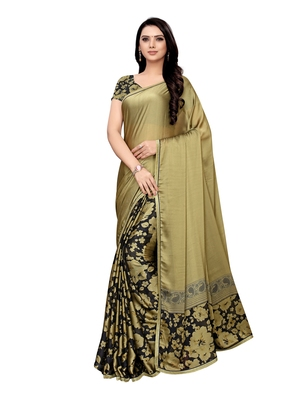 Green printed shimmer saree with blouse